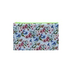 Watercolor Flowers Butterflies Pattern Blue Red Cosmetic Bag (xs) by EDDArt