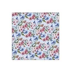 Watercolor Flowers Butterflies Pattern Blue Red Satin Bandana Scarf by EDDArt