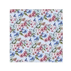 Watercolor Flowers Butterflies Pattern Blue Red Small Satin Scarf (square) by EDDArt