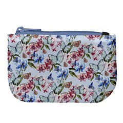 Watercolor Flowers Butterflies Pattern Blue Red Large Coin Purse by EDDArt