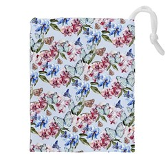 Watercolor Flowers Butterflies Pattern Blue Red Drawstring Pouches (xxl) by EDDArt