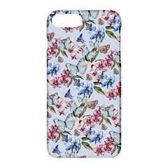 Watercolor Flowers Butterflies Pattern Blue Red Apple Iphone 7 Plus Hardshell Case by EDDArt