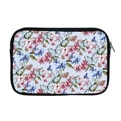 Watercolor Flowers Butterflies Pattern Blue Red Apple Macbook Pro 17  Zipper Case by EDDArt