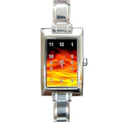 Black Yellow Red Sunset Rectangle Italian Charm Watch by Costasonlineshop