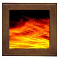 Black Yellow Red Sunset Framed Tiles by Costasonlineshop