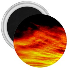 Black Yellow Red Sunset 3  Magnets by Costasonlineshop