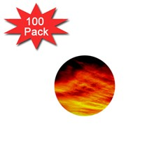 Black Yellow Red Sunset 1  Mini Buttons (100 Pack)