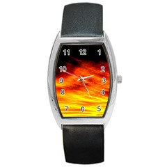 Black Yellow Red Sunset Barrel Style Metal Watch