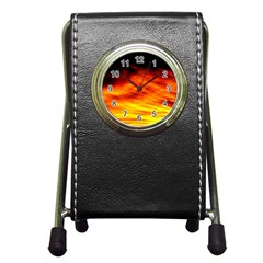 Black Yellow Red Sunset Pen Holder Desk Clocks by Costasonlineshop
