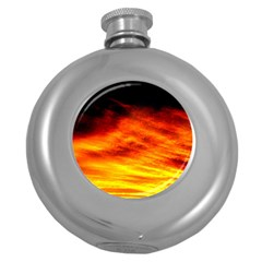 Black Yellow Red Sunset Round Hip Flask (5 Oz) by Costasonlineshop