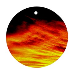 Black Yellow Red Sunset Round Ornament (two Sides)