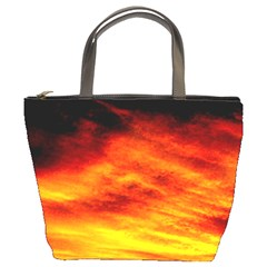 Black Yellow Red Sunset Bucket Bags by Costasonlineshop
