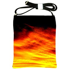 Black Yellow Red Sunset Shoulder Sling Bags by Costasonlineshop
