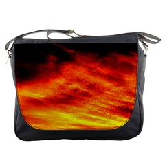Black Yellow Red Sunset Messenger Bags