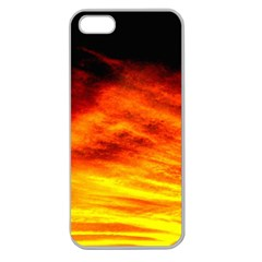 Black Yellow Red Sunset Apple Seamless Iphone 5 Case (clear) by Costasonlineshop