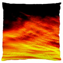 Black Yellow Red Sunset Large Flano Cushion Case (one Side) by Costasonlineshop