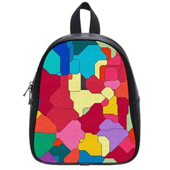 Colorful Leather Pieces             School Bag (small) by LalyLauraFLM