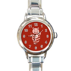Red Stupid Self Eating Gluttonous Pig Round Italian Charm Watch by CreaturesStore