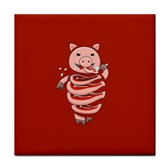 Red Stupid Self Eating Gluttonous Pig Tile Coasters by CreaturesStore