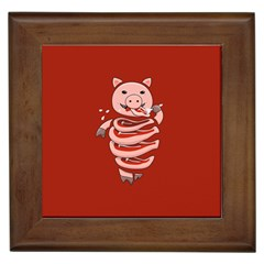 Red Stupid Self Eating Gluttonous Pig Framed Tiles by CreaturesStore