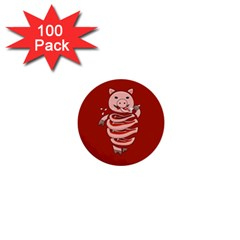 Red Stupid Self Eating Gluttonous Pig 1  Mini Buttons (100 Pack)  by CreaturesStore