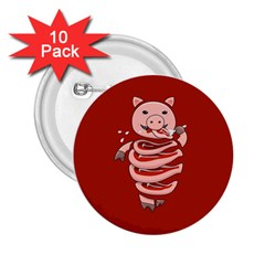 Red Stupid Self Eating Gluttonous Pig 2 25  Buttons (10 Pack)  by CreaturesStore