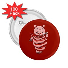 Red Stupid Self Eating Gluttonous Pig 2 25  Buttons (100 Pack)  by CreaturesStore