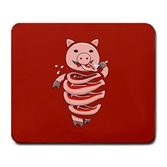 Red Stupid Self Eating Gluttonous Pig Large Mousepads by CreaturesStore