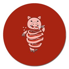 Red Stupid Self Eating Gluttonous Pig Magnet 5  (round) by CreaturesStore