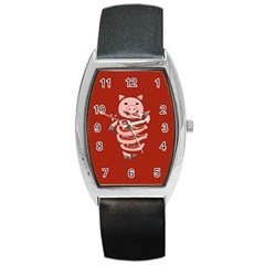 Red Stupid Self Eating Gluttonous Pig Barrel Style Metal Watch by CreaturesStore
