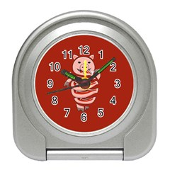 Red Stupid Self Eating Gluttonous Pig Travel Alarm Clocks by CreaturesStore