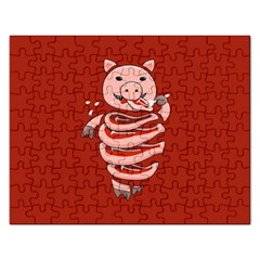 Red Stupid Self Eating Gluttonous Pig Rectangular Jigsaw Puzzl by CreaturesStore