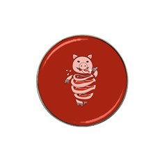 Red Stupid Self Eating Gluttonous Pig Hat Clip Ball Marker by CreaturesStore