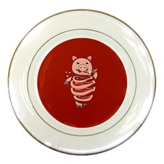 Red Stupid Self Eating Gluttonous Pig Porcelain Plates by CreaturesStore