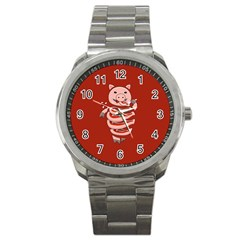 Red Stupid Self Eating Gluttonous Pig Sport Metal Watch by CreaturesStore