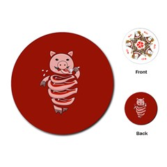 Red Stupid Self Eating Gluttonous Pig Playing Cards (round)  by CreaturesStore