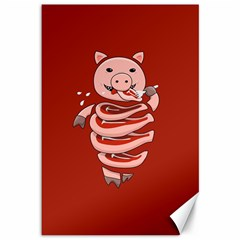 Red Stupid Self Eating Gluttonous Pig Canvas 12  X 18   by CreaturesStore