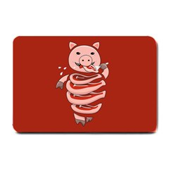 Red Stupid Self Eating Gluttonous Pig Small Doormat  by CreaturesStore