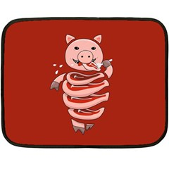 Red Stupid Self Eating Gluttonous Pig Fleece Blanket (mini) by CreaturesStore