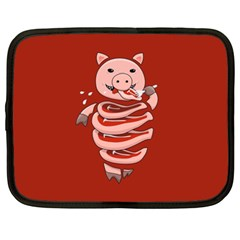 Red Stupid Self Eating Gluttonous Pig Netbook Case (xxl)  by CreaturesStore