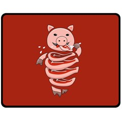 Red Stupid Self Eating Gluttonous Pig Fleece Blanket (medium)  by CreaturesStore