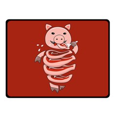 Red Stupid Self Eating Gluttonous Pig Fleece Blanket (small) by CreaturesStore