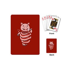 Red Stupid Self Eating Gluttonous Pig Playing Cards (mini)  by CreaturesStore