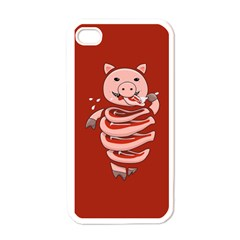 Red Stupid Self Eating Gluttonous Pig Apple Iphone 4 Case (white) by CreaturesStore