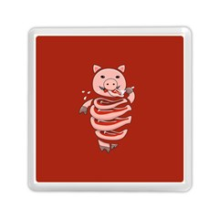 Red Stupid Self Eating Gluttonous Pig Memory Card Reader (square)  by CreaturesStore