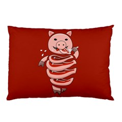 Red Stupid Self Eating Gluttonous Pig Pillow Case (two Sides) by CreaturesStore