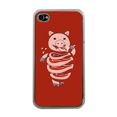 Red Stupid Self Eating Gluttonous Pig Apple Iphone 4 Case (clear) by CreaturesStore
