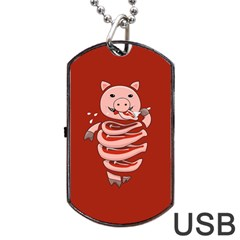 Red Stupid Self Eating Gluttonous Pig Dog Tag Usb Flash (two Sides) by CreaturesStore