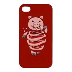 Red Stupid Self Eating Gluttonous Pig Apple Iphone 4/4s Premium Hardshell Case by CreaturesStore