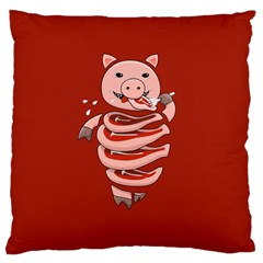 Red Stupid Self Eating Gluttonous Pig Large Cushion Case (two Sides) by CreaturesStore